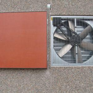 Broilerkasvattamoiden tuulettimen sulkuluukku, kuumasinkityllä rungolla